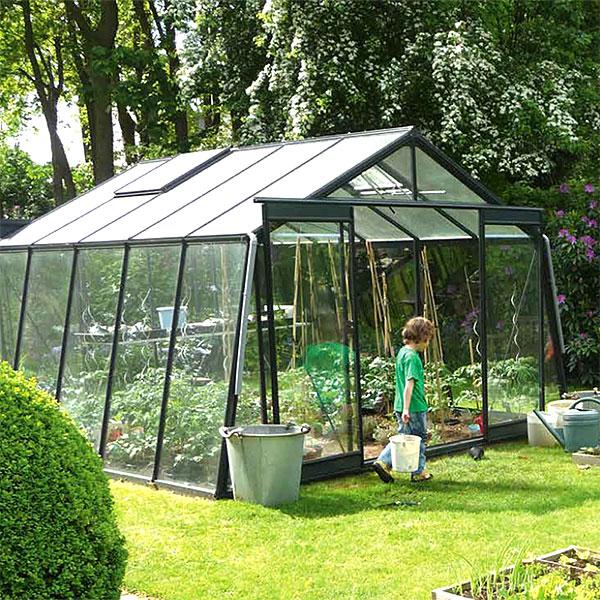 Odlingsväxthus Action i mörkgrön pulverlackerad aluminiumstomme
